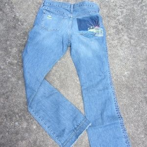 GAP LOW RISE FLARE EMBROIDERED JEANS SIZE 8